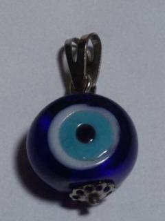 Antigo Pingente Olho Grego Azul Banho De Prata- Nº 5295n