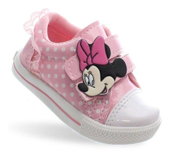 Tenis Infantil Minnie Menina Feminino Bebe Rosa 20/27 Barato Promoção Personagem