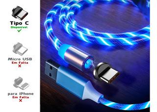 3 Cabos Magnéticos Luminosos Micro Usb Ou Tipo C