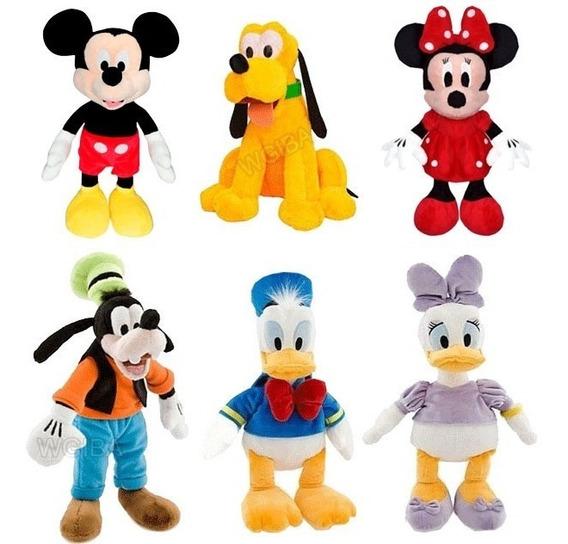 Kit Com 6 Pelucia Turma Do Mickey Mouse 28 Cm Antialergico