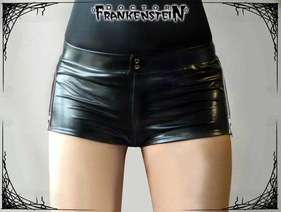 Short Glam Licra Brillante Rocker Gotico Dark Moda