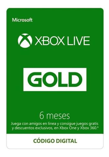 Imagen 1 de 2 de Xbox Live Gold 6 Meses, Entrega Inmediata!