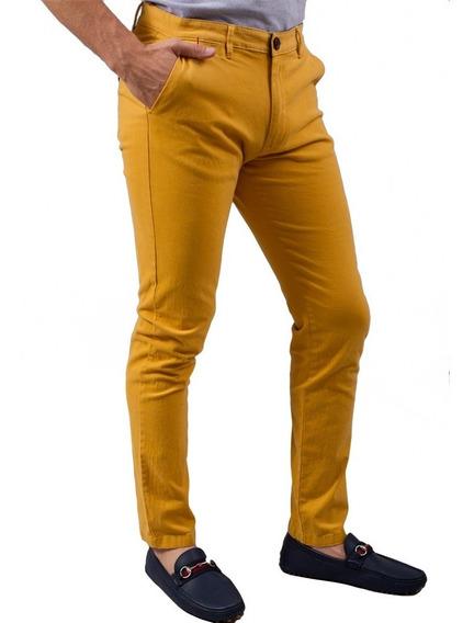 Pantalon Porto Blanco Gabardina Algodon Mostaza