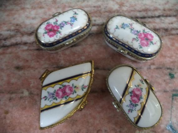 Porta Jóias Miniatura Antigos Porcelana Perfeitos Lote Com 4
