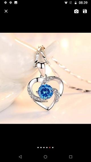 Correntinha Prata Pingente Coração E Pedra Azul