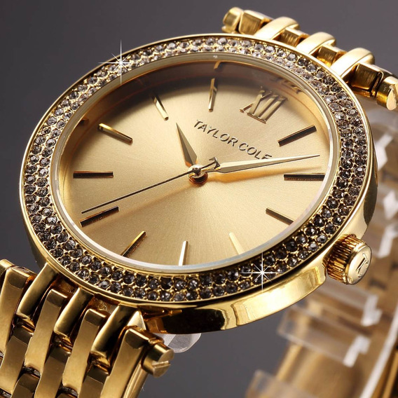 Reloj Dorado Dama Taylor Cole Original Mujer