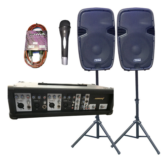 Combo Sonido Mixer Potenciada + Cajas + Microfono Shure