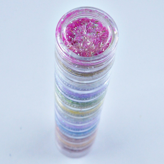 2 Kit Torre C/ 12 Glitters Para Decoração De Unhas