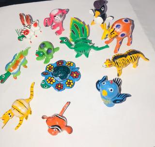 Paquete De 12 Alebrijes De Madera Artesanales Miniatura