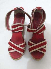 Sandália Salto Alto Sisal Anabela Vermelha Elástica 38 C.806