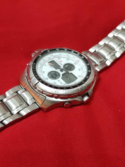 Relógio Citizen Temperatura C710 Fundo Branco Série Prata