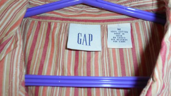 Camisa Sin Mangas Gap Mujer Mostaza Con Rayas Talle M