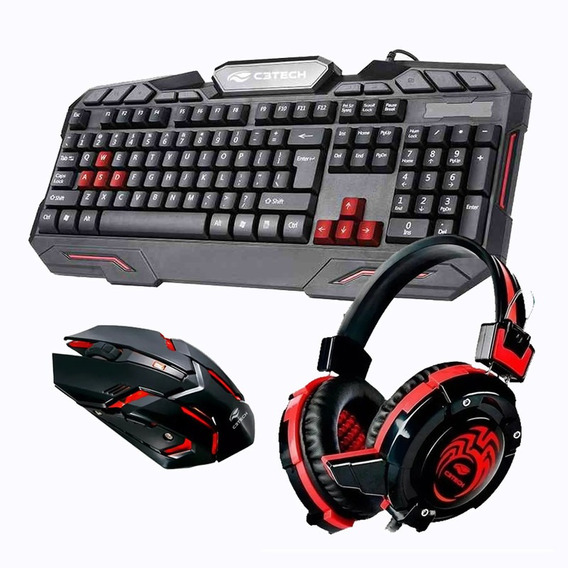 Kit Gamer Logitech Acessorios Pc Teclado Mouse Usb Headset