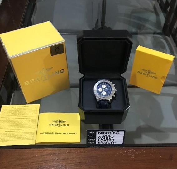 Relógio Breitling Super Avenger 48mm Fundo Azul Original