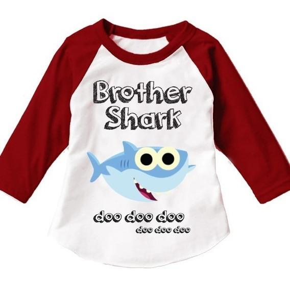 3 Playeras Familiares Baby Shark Tipo Ranglan