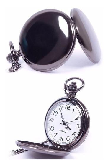 Relógio De Bolso - Preto Metal Polido- Quartz Pronta Entrega