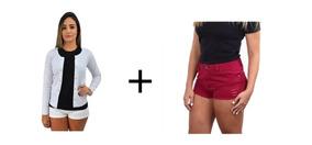 Kit Feminino Bermuda+blusinha Roupa Feminina Roupas Baratas