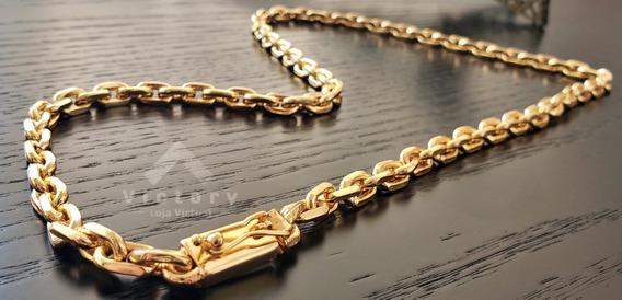 Cordão Cadeado 60cm 10mm Banhado A Ouro 18k Elos Soldados