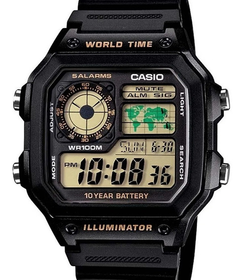 Relógio Casio Masculino Mundial Quadrado 5 Alarmes (3299)