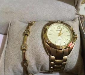 Kit Feminino Relógio Swarovski Crystal Dourado