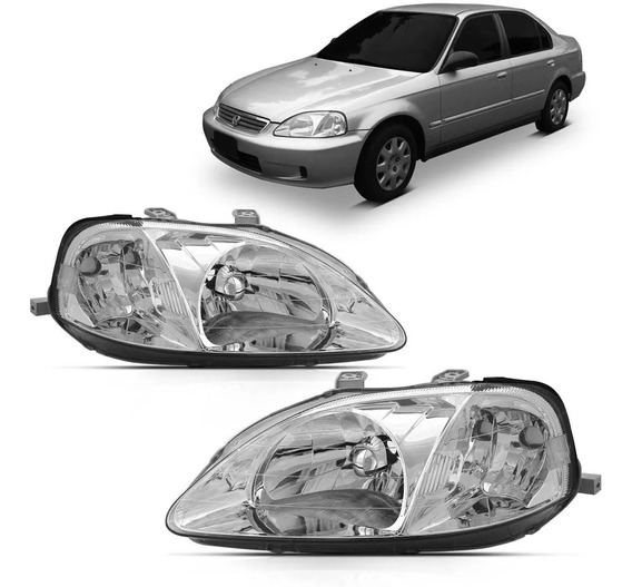 Par Farol Cromado Honda Civic 1999 2000