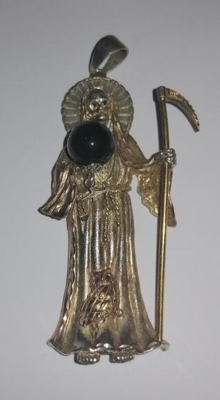 Dije Santa Muerte (plata Pura Y Baño De Oro De 14 K)