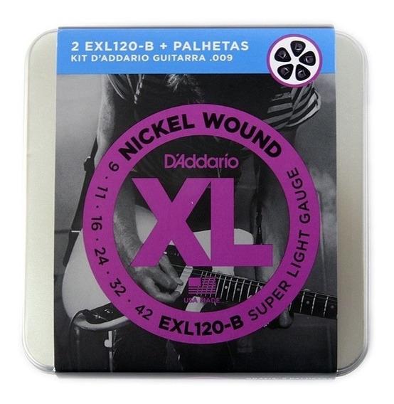 Encordoamento Guitarra Daddario Exl120- 2 Jogos+lata+palheta