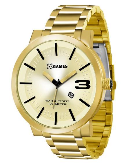 Relógio X-games Masculino Dourado Grande Xmgs1007 C2kx