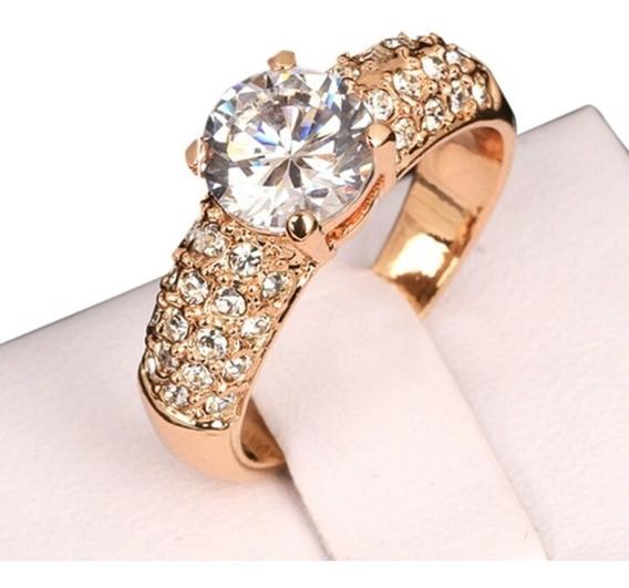 Hermoso Anillo En Oro 18 Kts Cristal Corte Diamante Mujer!!