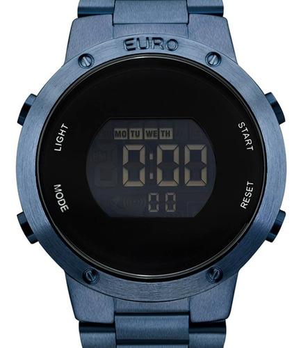 Imagem 1 de 5 de Relógio Euro Digital Feminino Eubj3279ac/4a Azul + Nf