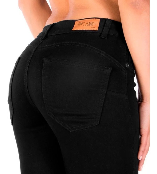 Jeans Negro Botón Delantero Pretina Delgada, Pinzas Trasero