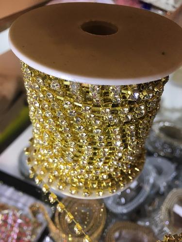 Imagem 1 de 3 de Strass Crystal 20 Mts Ss16 Dourado/rose Promoção!!!