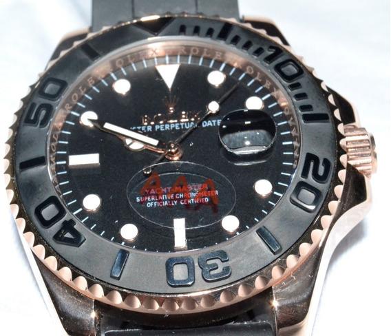 Relógio Rolex Automático Aço Inox Pulseira Em Silicone