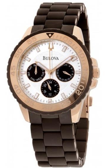 Relógio Bulova 98n103 Banho Ouro Borracha Silicone Pulseira.