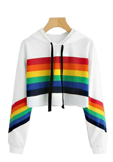 Moletom Cropped Lgbt Cores Parada Gay Amor É Amor Poc