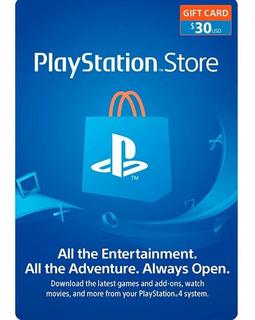 Psn 30 - Playstation Network 30 Usd - ¡entrega Yaa!