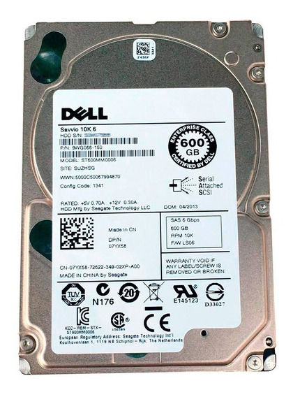 Hd Servidor Dell 600gb 10k Sas St600mm0006 2.5 Pn 9wg066-150