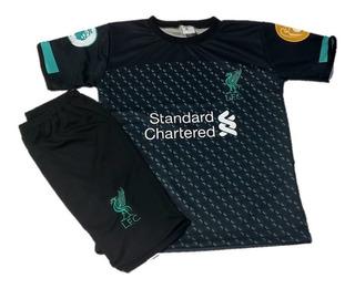 Kit Short E Camisa Infantil Liverpool Preto De Criança!!