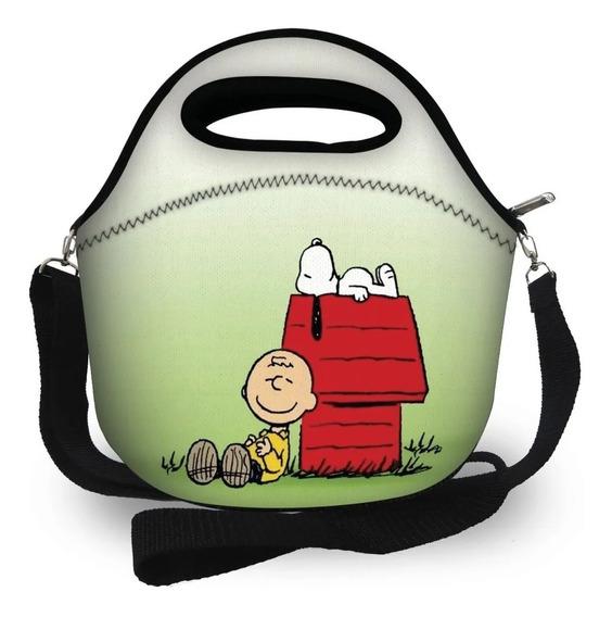 Lancheira Bolsa Térmica Neoprene - Snoopy Charlie Brown