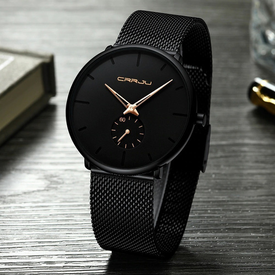 Relógio Masculino De Luxo Ultra Fino Casual Esportivo Crrju