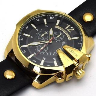 Reloj Curren Diseño Unico Varios Colores Malla Cuero Fecha