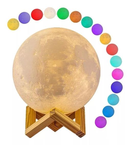 Luminária Lua Cheia 3d Duas Cores 15cm Toutch Abajur Oferta