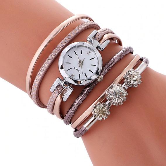 Moda De Luxo Strass Pulseira De Couro Relógio Das Mulheres
