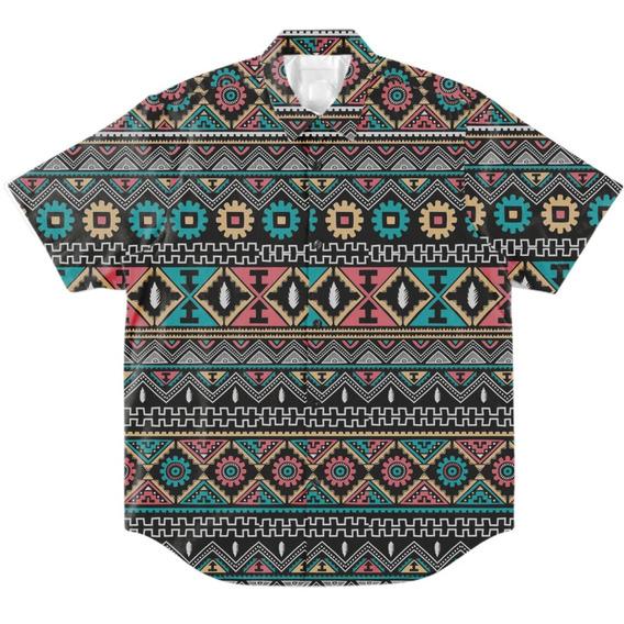 Camisa Botão Masculino Casual Psicodélica Mosaico Geek Verão