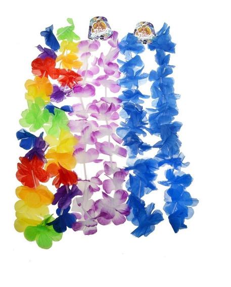10 Collares Hawaianos Tela Cotillon Fiesta Varios Colores