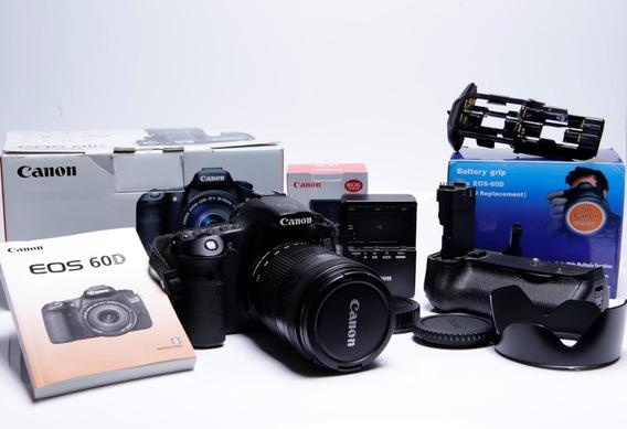 Canon 60d + Lente 18-135mm + Bateria, Grip ,manuais E Caixas Originais