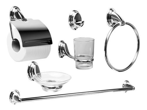 Set Accesorios Baño Ducha 6 Pzs. Acero Inox Vidrio Tawak Sf