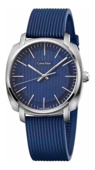 Relógio Calvin Klein Pulseira Silicone Azul, Suíço. Original