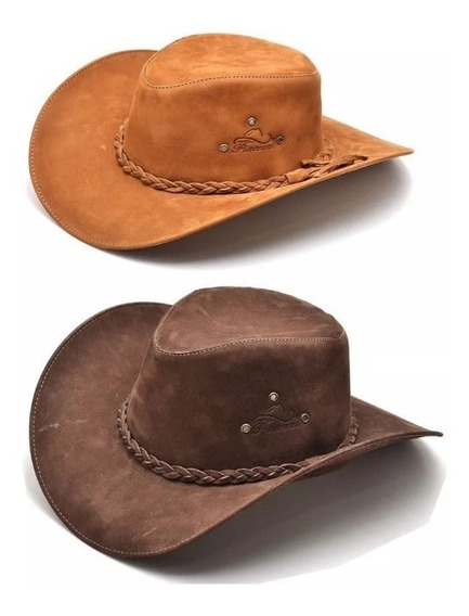 Kit 2 Chapéus Country Australiano Cowboy Masculino Couro Legítimo