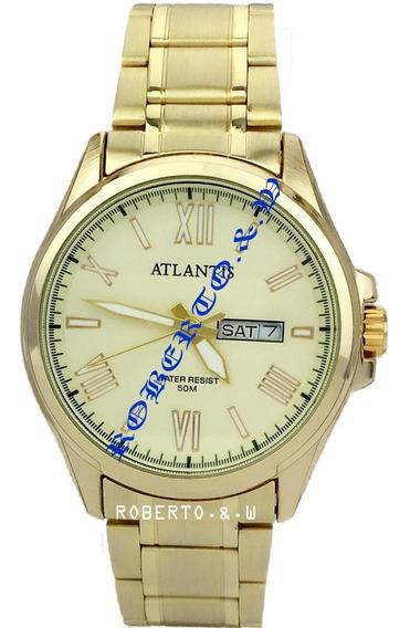 Relógio Masculino Atlantis Dourado 2 Calendário Frete Grátis